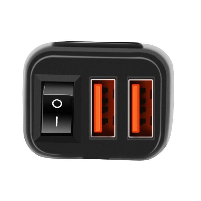 zasuvka mala voltmetr kompaktni modra 12v 2x USB quickcharge na moto